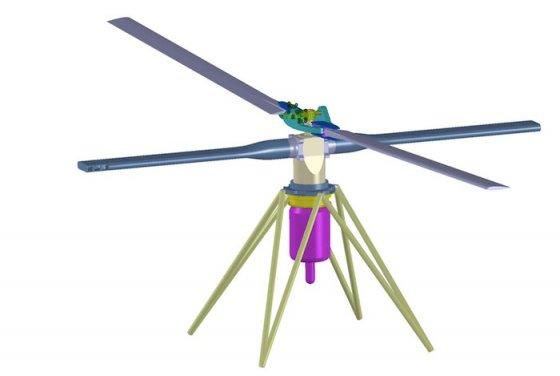 L'ensemble propulsif, avec rotor assurant la portance, bras moteurs et réacteur placé à la verticale. © EyoCopter