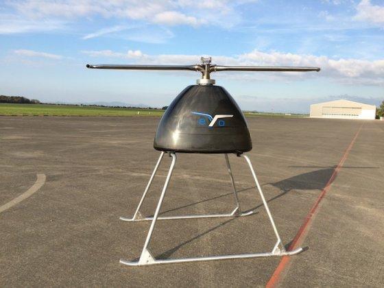 L'EyoCopter 400 en attente des pales de son rotor. La ressemblance avec un Shadok est troublante… © EyoCopter